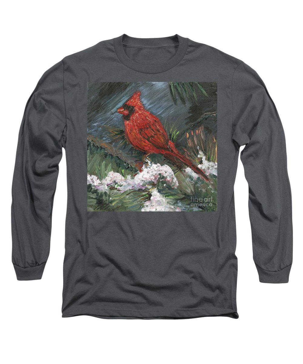 Bird Long Sleeve T-Shirt featuring the painting Winter Cardinal by Nadine Rippelmeyer
