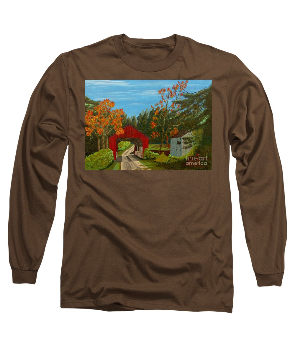 Path Long Sleeve T-Shirt featuring the painting Covered Bridge by Anthony Dunphy