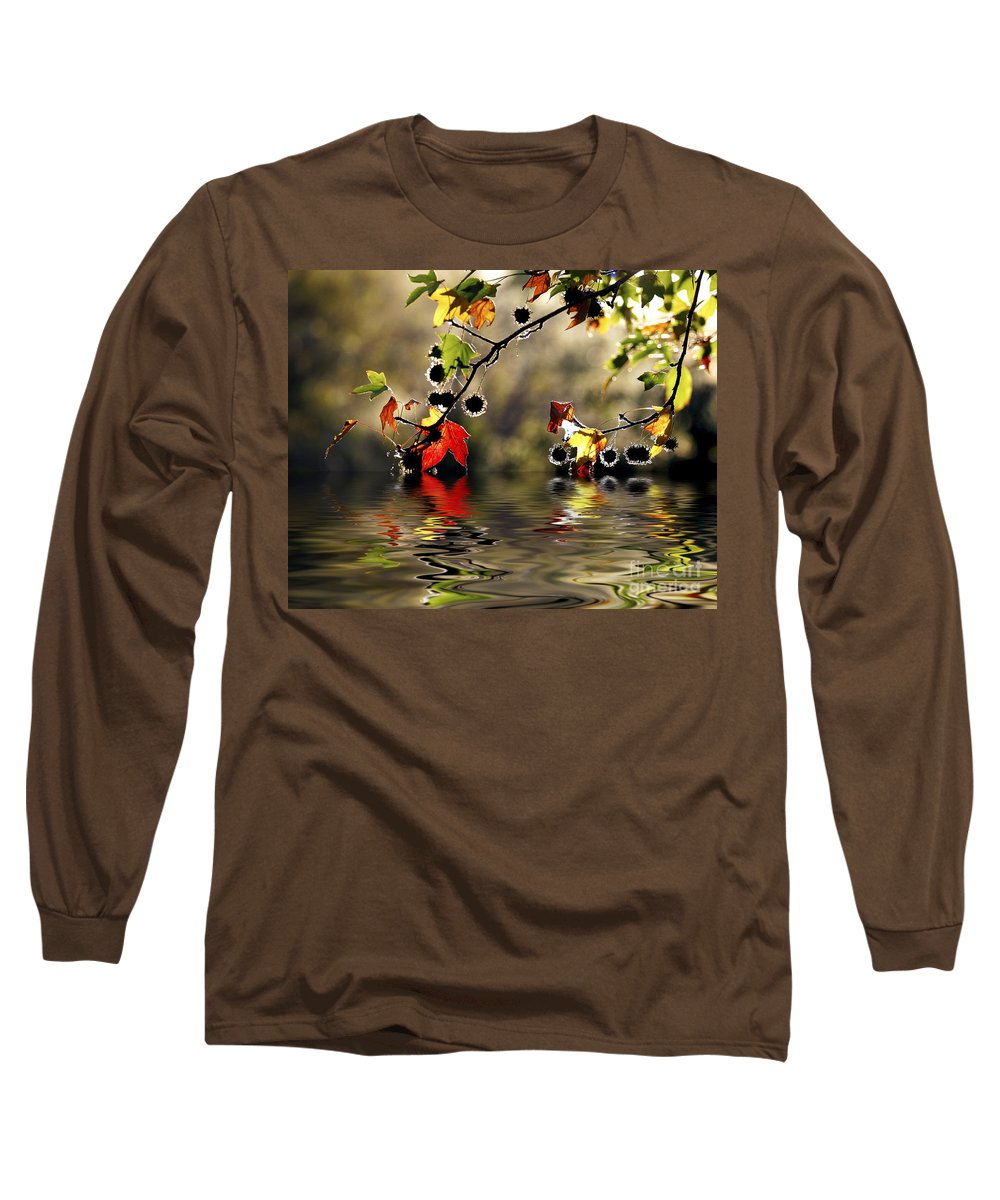 Liquidambar Maple Autumn Fall Flood Water Reflection Long Sleeve T-Shirt featuring the photograph Liquidambar In Flood by Avalon Fine Art Photography