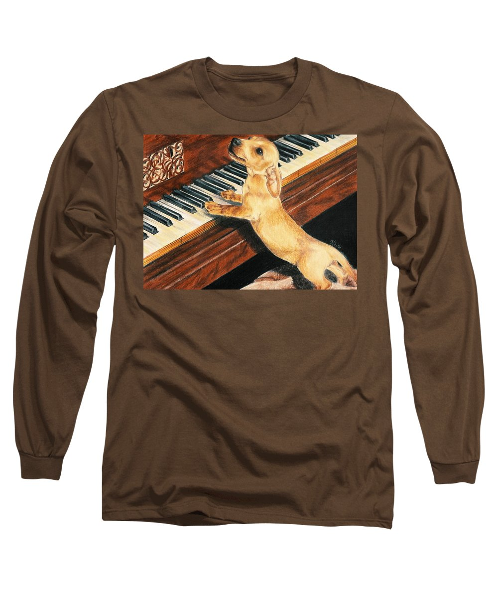 Dogs Long Sleeve T-Shirt featuring the drawing Mozart's Apprentice by Barbara Keith