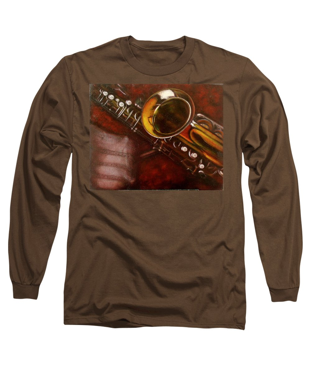 Still Life Long Sleeve T-Shirt featuring the painting Unprotected Sax by Sean Connolly