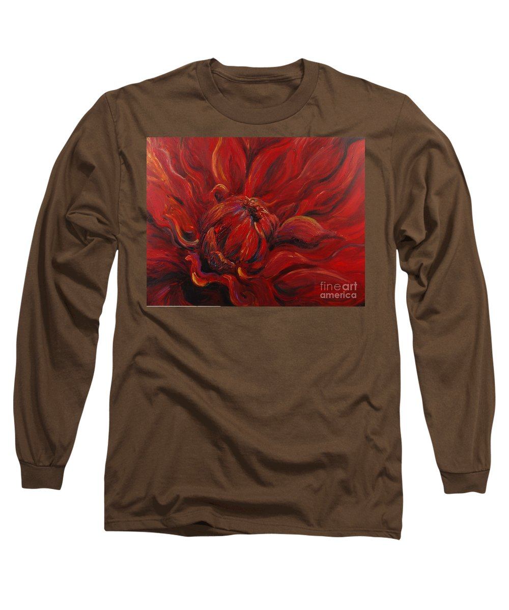 Red Long Sleeve T-Shirt featuring the painting Passion II by Nadine Rippelmeyer