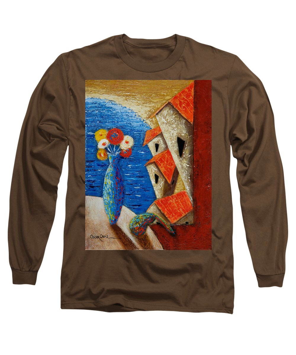 Landscape Long Sleeve T-Shirt featuring the painting Ventana Al Mar by Oscar Ortiz