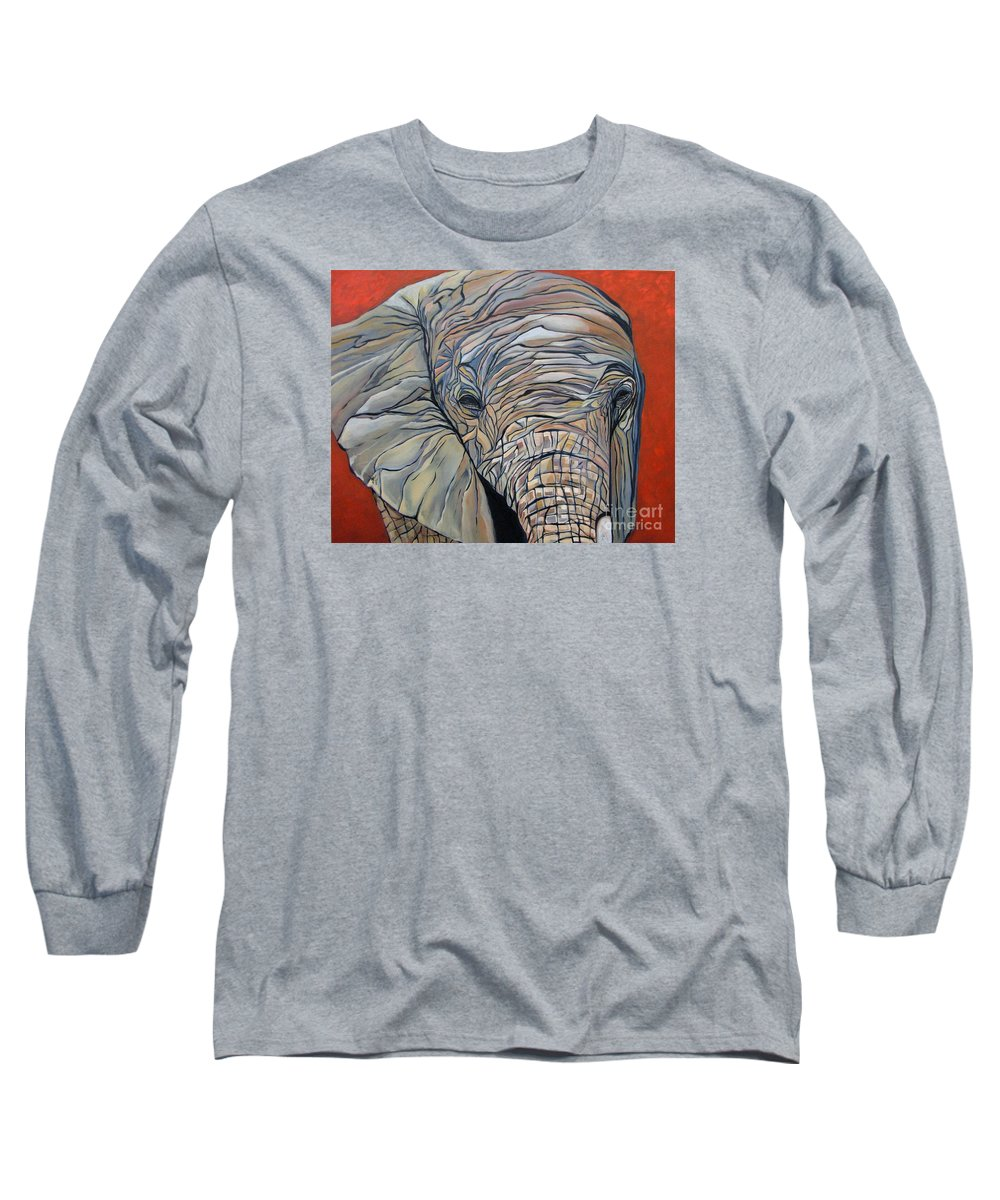 Elephant Long Sleeve T-Shirt featuring the painting Lazy Boy by Aimee Vance