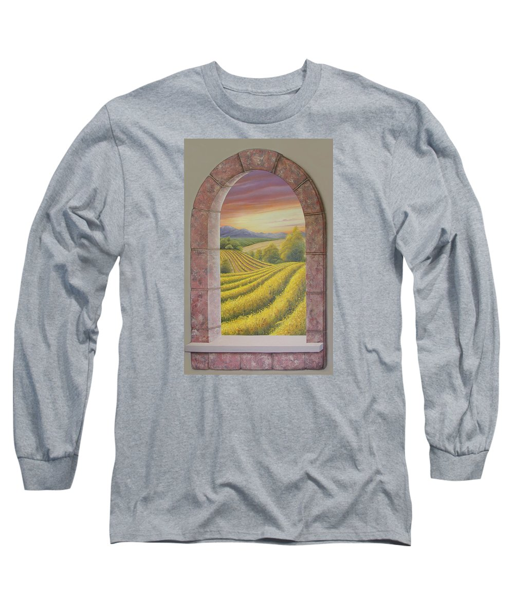 Realistic Long Sleeve T-Shirt featuring the painting Arco Vinal by Angel Ortiz