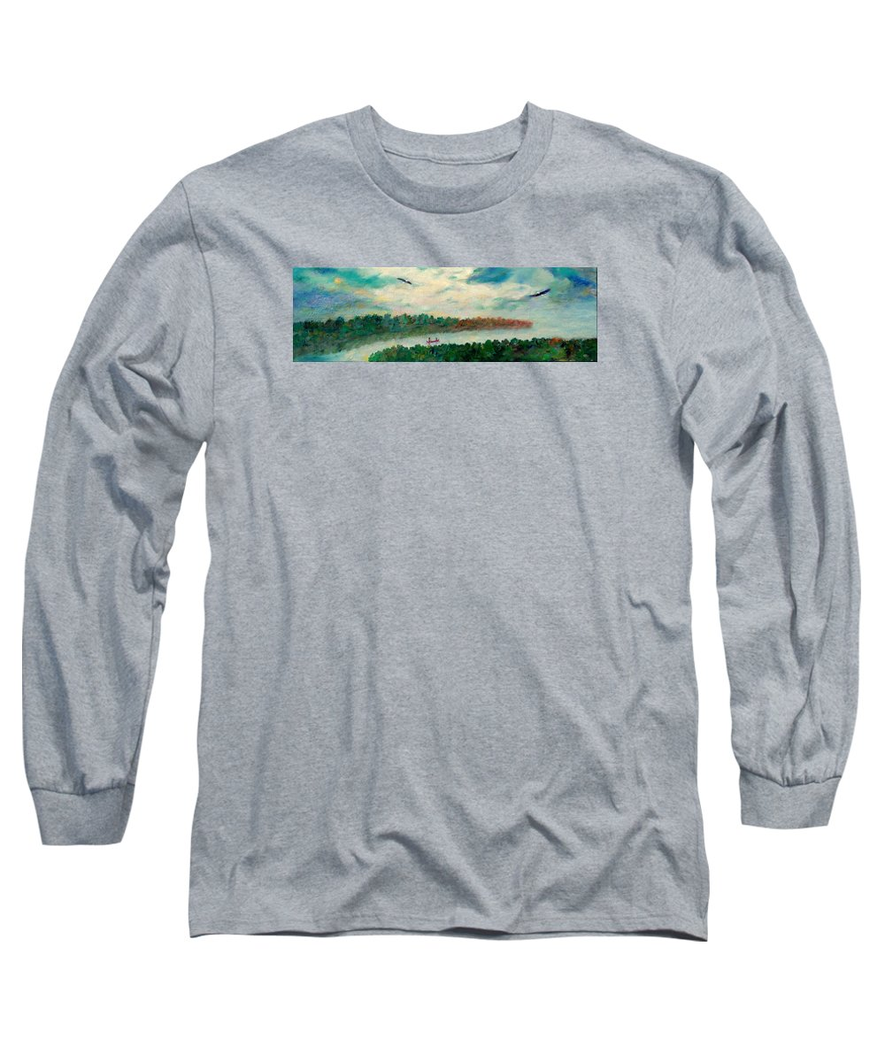 Canoeing On The Big Canadian Lakes Long Sleeve T-Shirt featuring the painting Exploring Our Lake by Naomi Gerrard