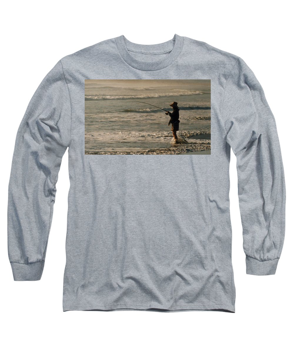 Fisherman Long Sleeve T-Shirt featuring the photograph Fisherman by Steve Karol