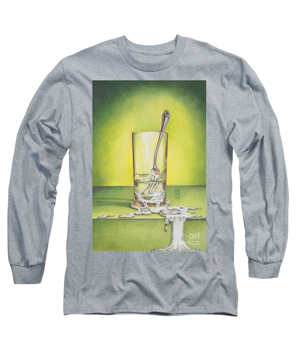 Bizarre Long Sleeve T-Shirt featuring the painting Glass With Melting Fork by Melissa A Benson