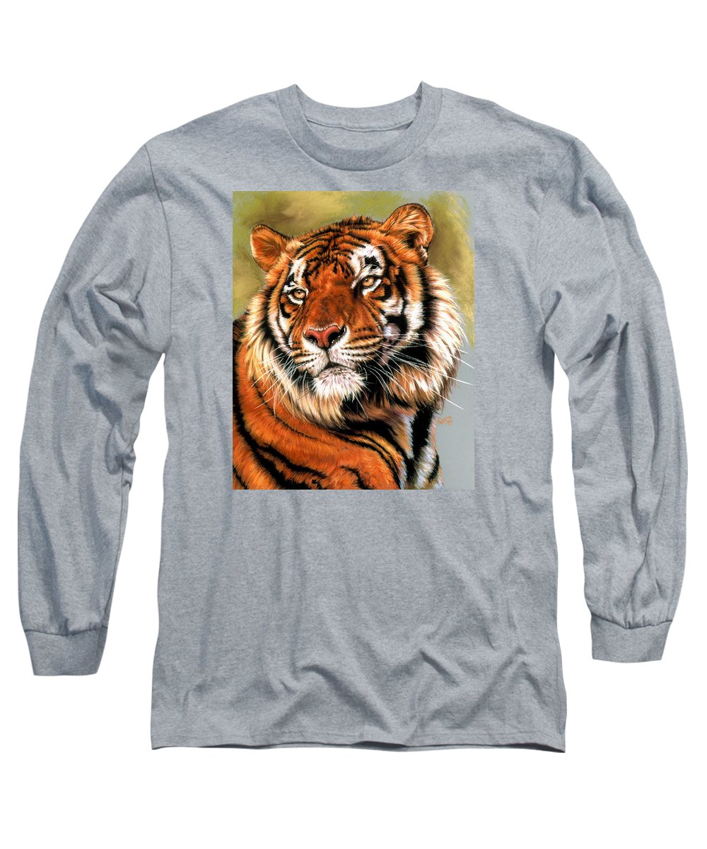 Tiger Long Sleeve T-Shirt featuring the painting Power And Grace by Barbara Keith