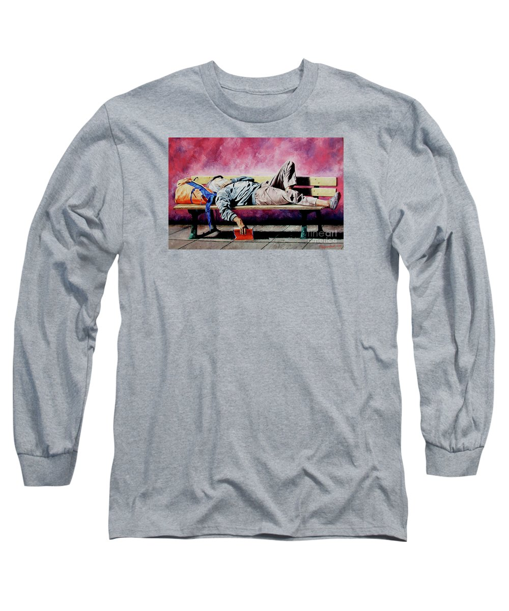 Figurative Long Sleeve T-Shirt featuring the painting The Traveler 1 - El Viajero 1 by Rezzan Erguvan-Onal