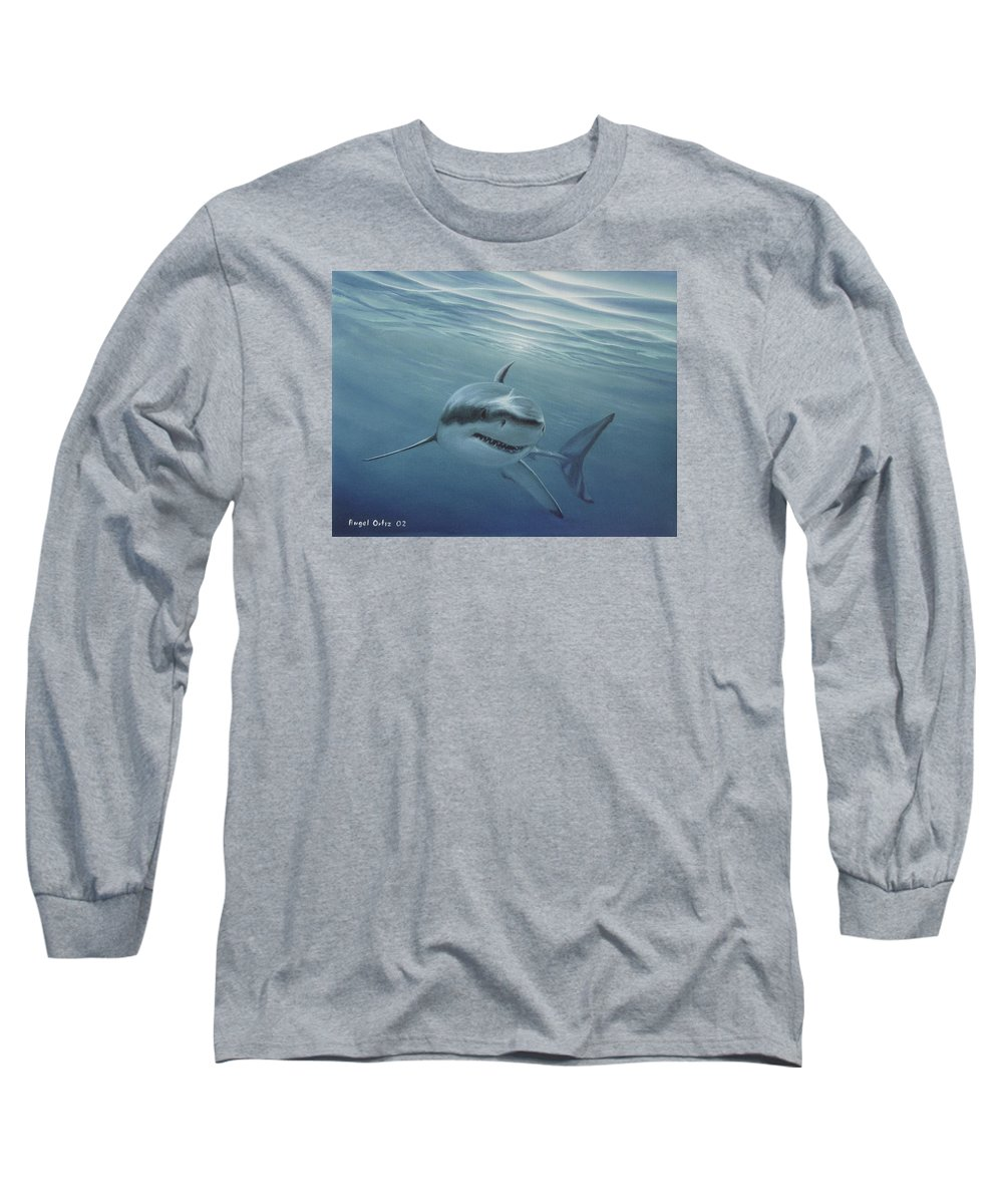 Shark Long Sleeve T-Shirt featuring the painting White Shark by Angel Ortiz