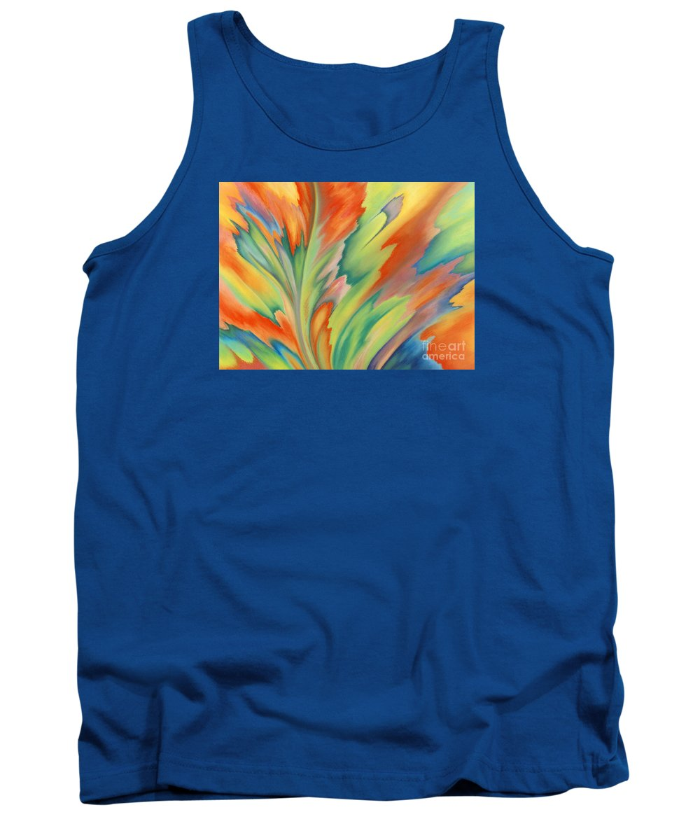 Abstract Tank Top featuring the painting Autumn Flame by Lucy Arnold
