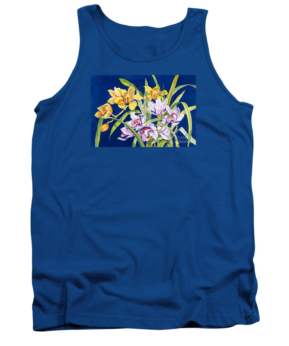 Orchids Tank Top featuring the painting Orchids In Blue by Lucy Arnold