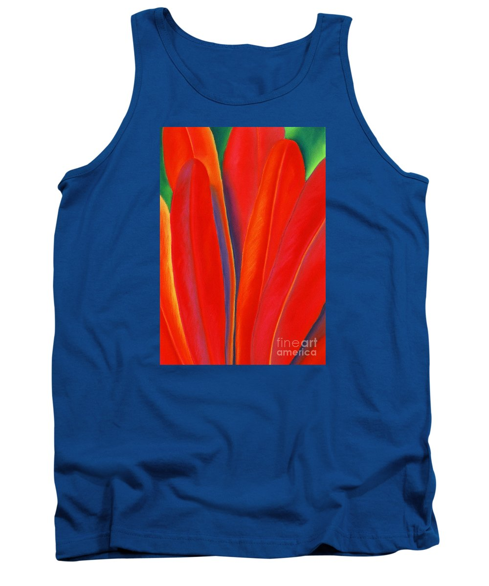 Red Tank Top featuring the painting Red Petals by Lucy Arnold