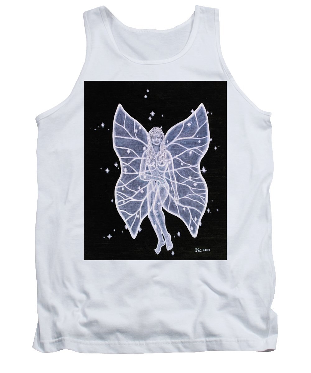 Fairy Tank Top featuring the painting Moon Fairy by Roz Eve