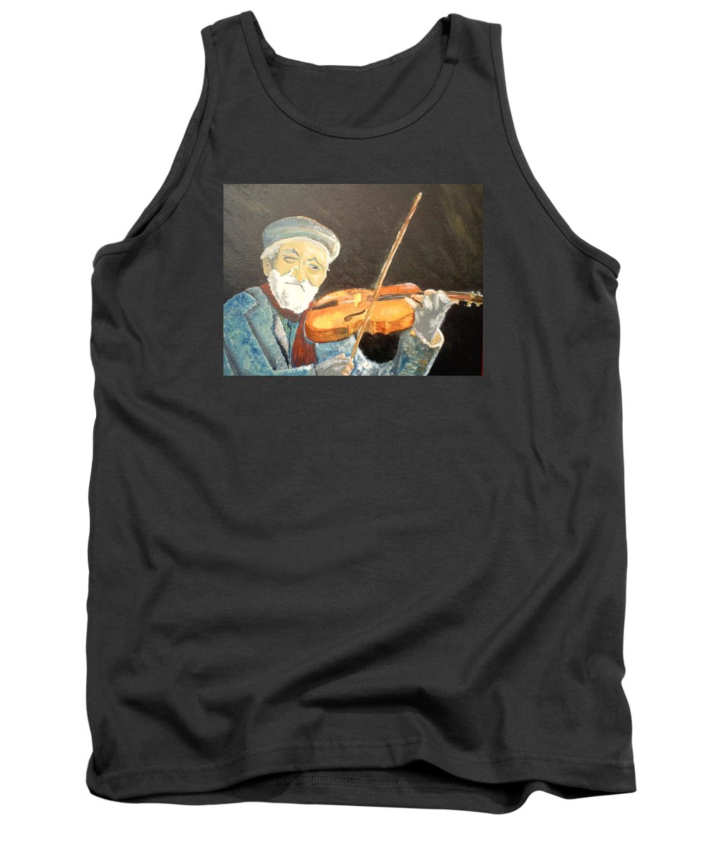 Hungry He Plays For His Supper Tank Top featuring the painting Fiddler Blue by J Bauer