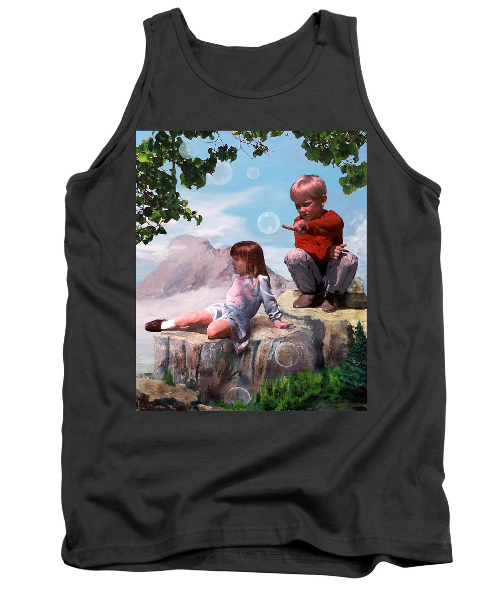 Landscape Tank Top featuring the painting Mount Innocence by Steve Karol