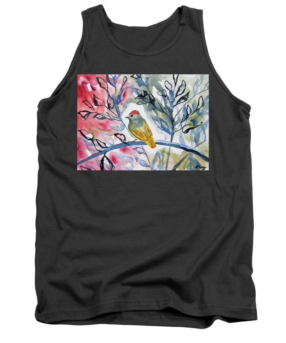 watercolor green tailed towhee impression tank top for. Black Bedroom Furniture Sets. Home Design Ideas