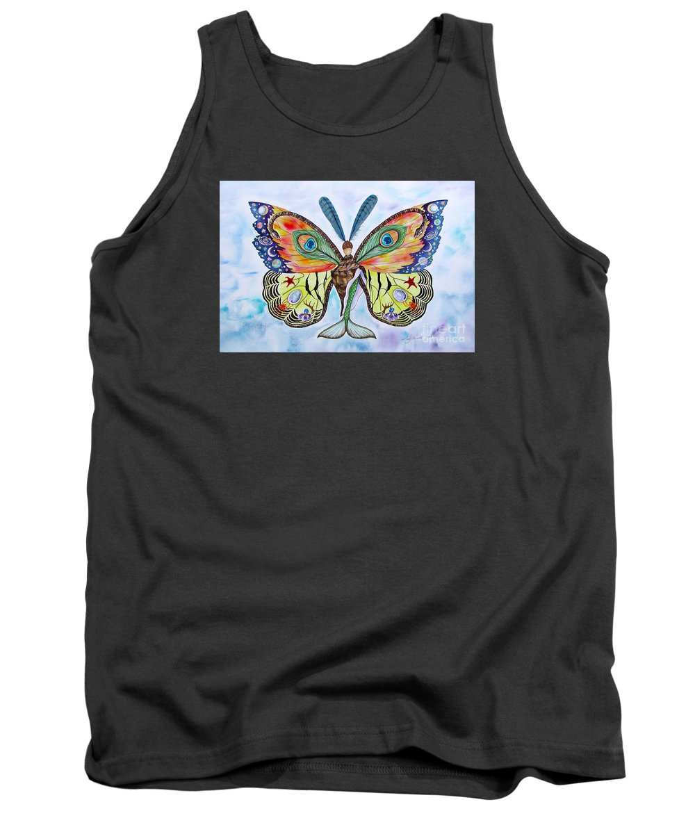 Butterfly Tank Top featuring the painting Winged Metamorphosis by Lucy Arnold
