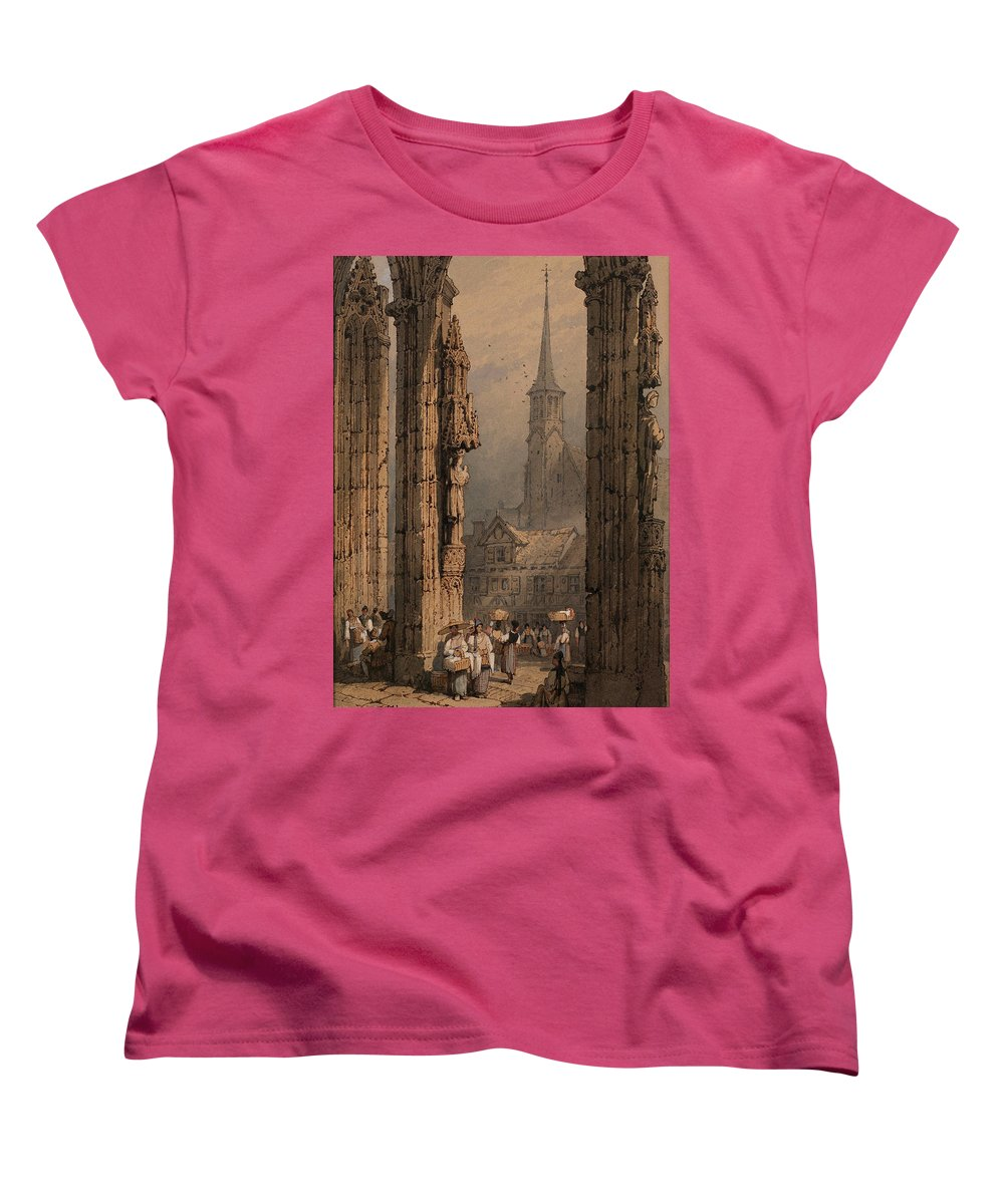 figures at the cathedral portal ulm womens t shirt for. Black Bedroom Furniture Sets. Home Design Ideas