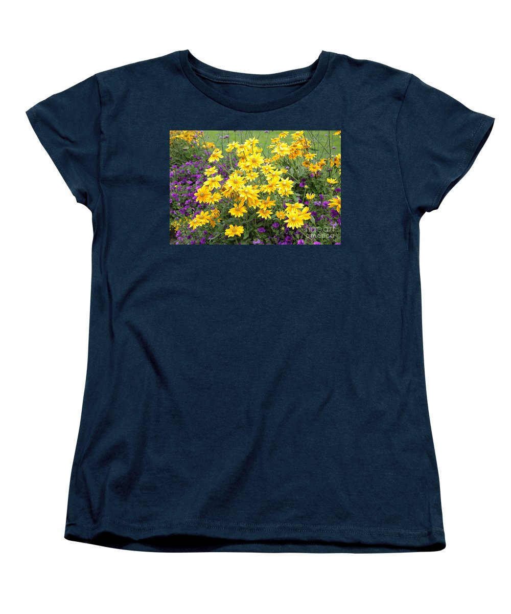 Bright yellow and purple flowers womens t shirt for sale for Bright purple t shirt
