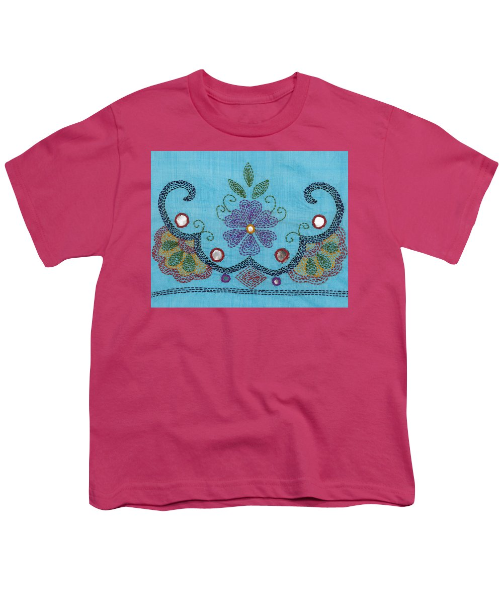 Kantha Fabric Art On Turquoise Pure Silk Youth T Shirt For