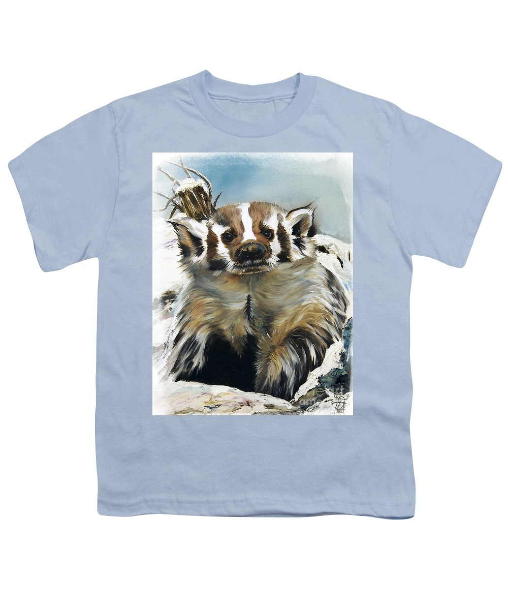 Southwest Art Youth T-Shirt featuring the painting Badger - Guardian Of The South by J W Baker