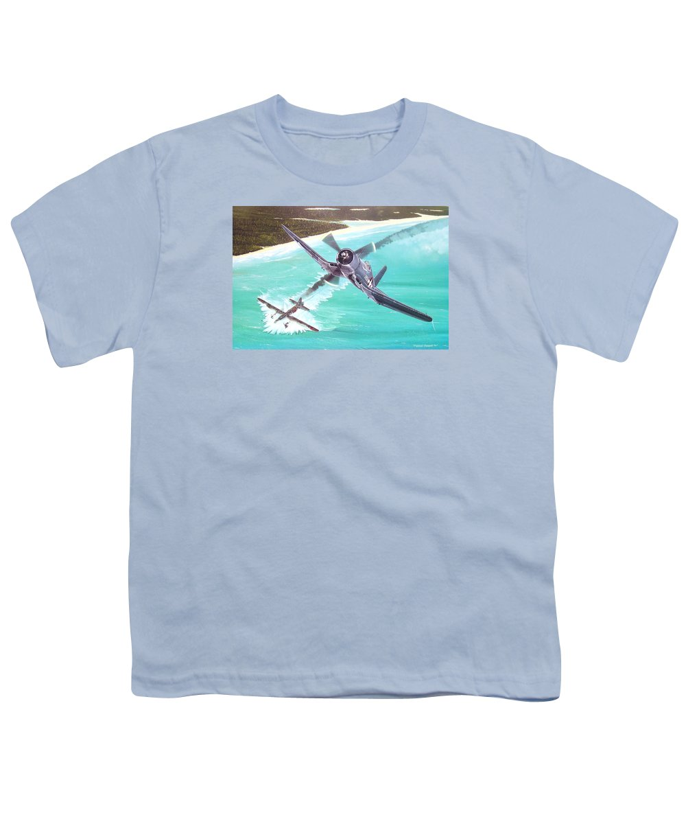 Military Youth T-Shirt featuring the painting Duel Over New Georgia by Marc Stewart