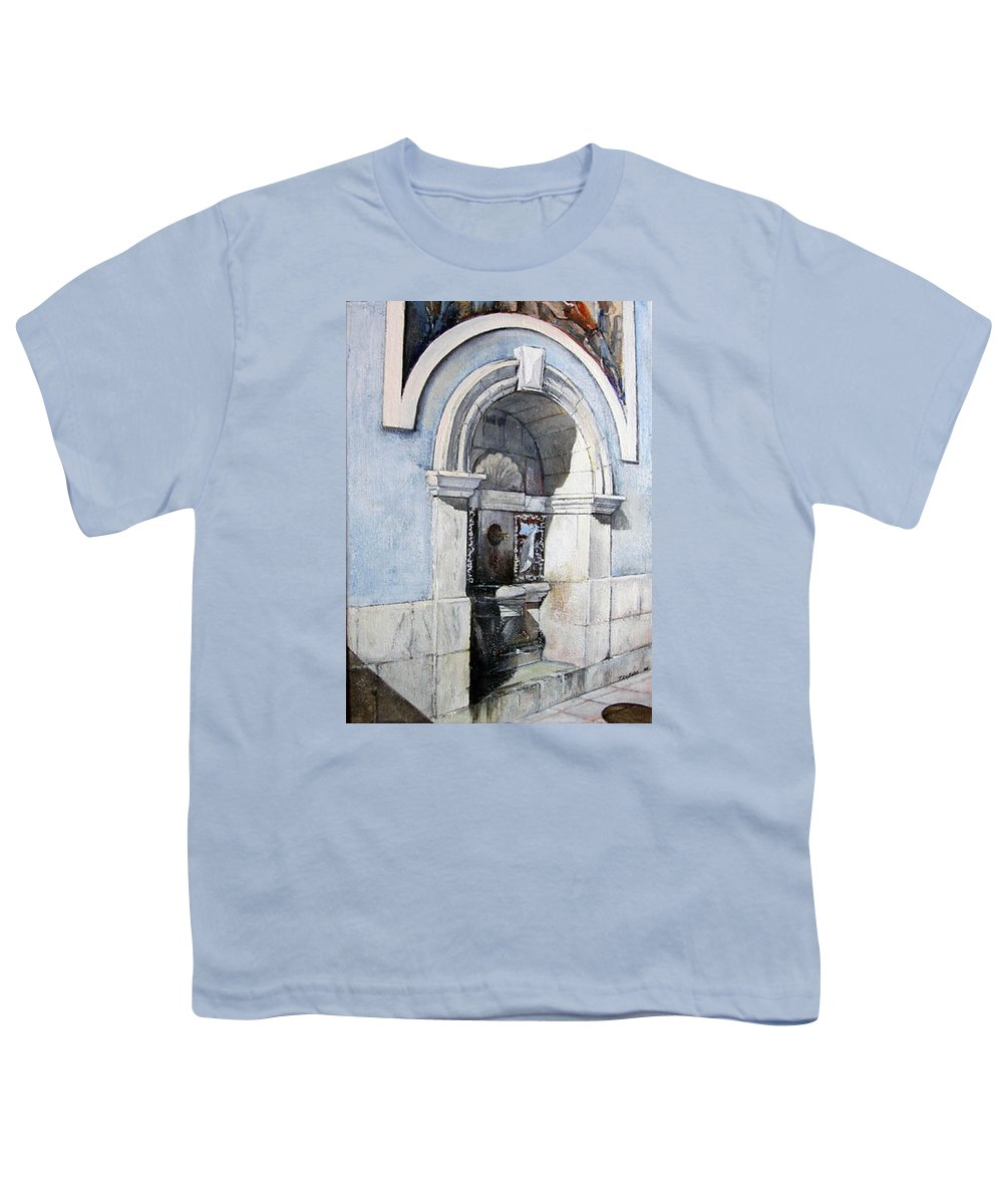 Fuente Youth T-Shirt featuring the painting Fuente Castro Urdiales by Tomas Castano