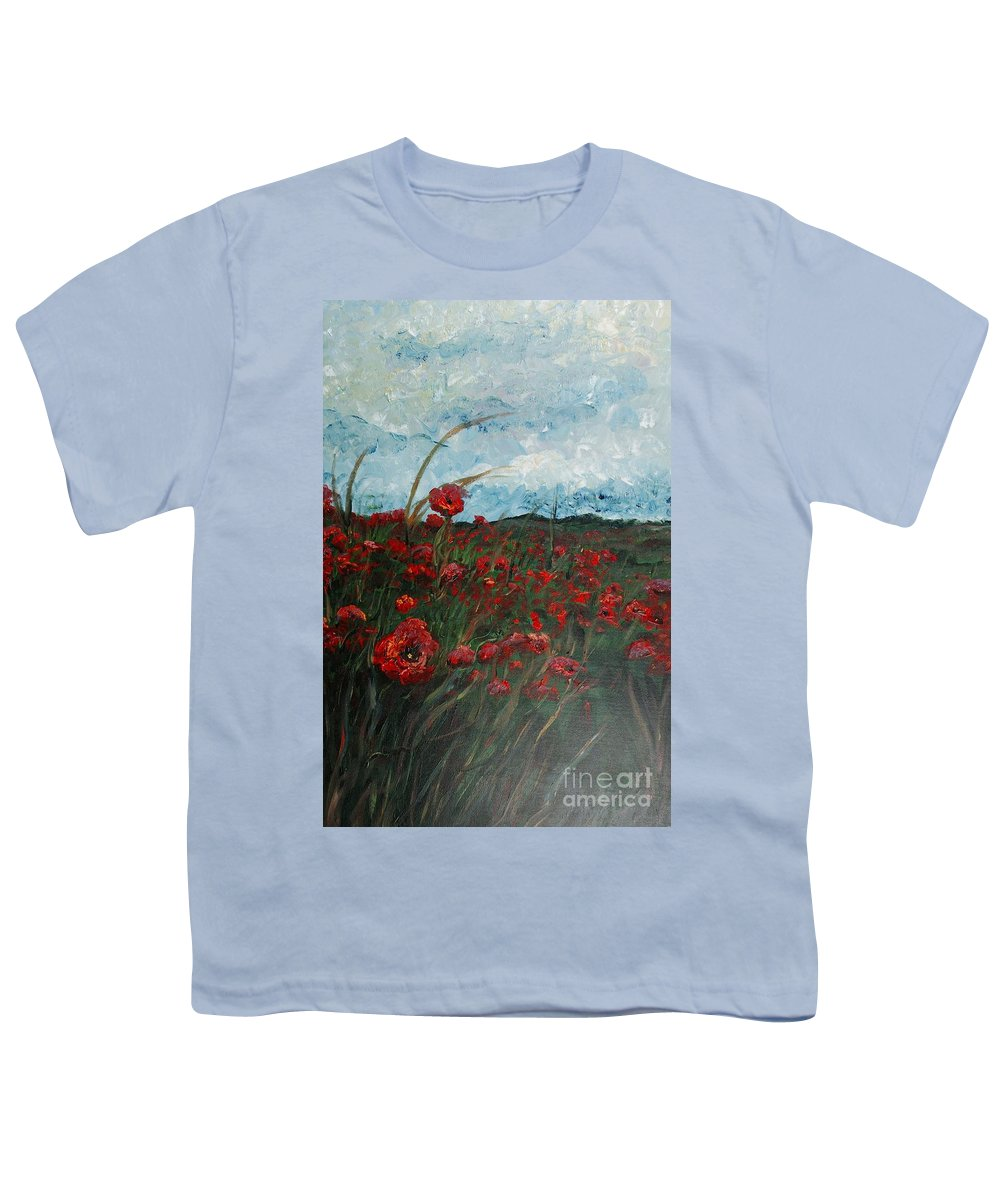 Poppies Youth T-Shirt featuring the painting Stormy Poppies by Nadine Rippelmeyer