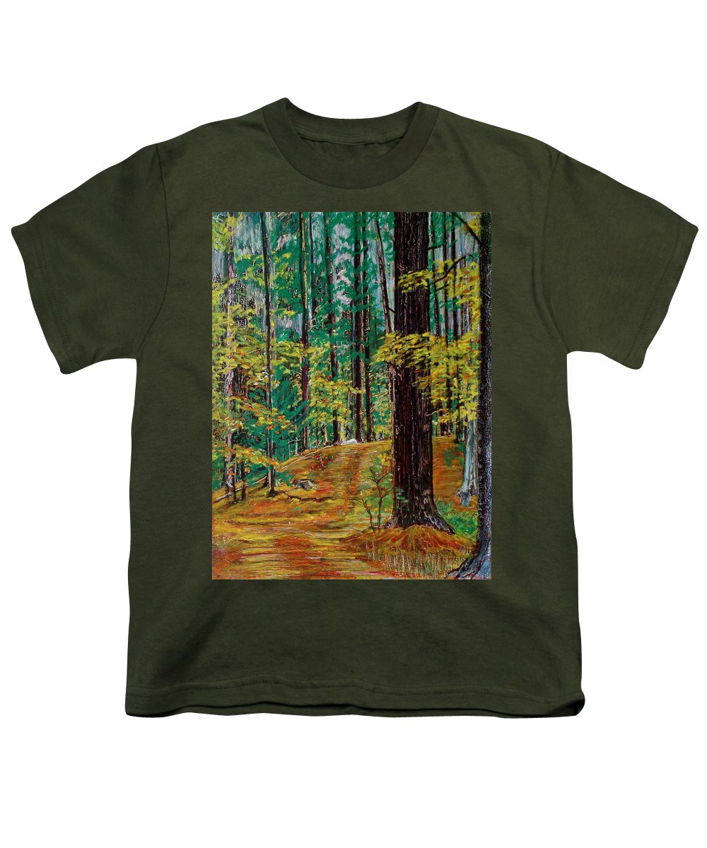 New Hampshire Youth T-Shirt featuring the painting Trail At Wason Pond by Sean Connolly
