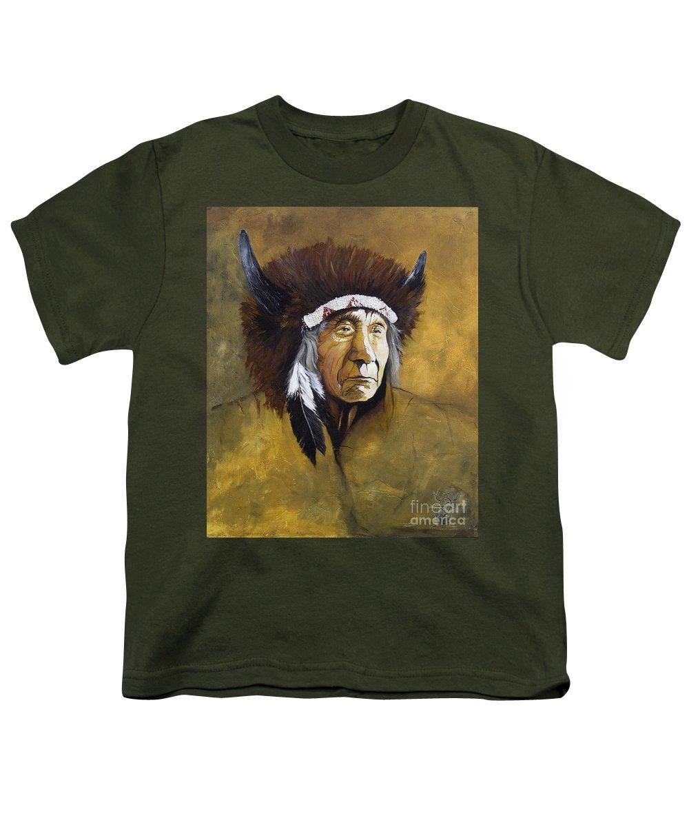 Shaman Youth T-Shirt featuring the painting Buffalo Shaman by J W Baker