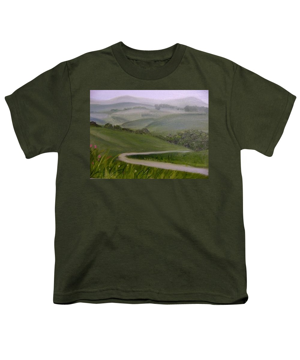 Pathway Youth T-Shirt featuring the painting Highway Into The Hills by Toni Berry