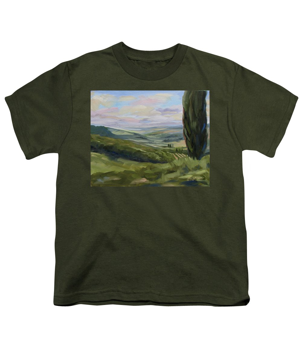 Landscape Youth T-Shirt featuring the painting View From Sienna by Jay Johnson