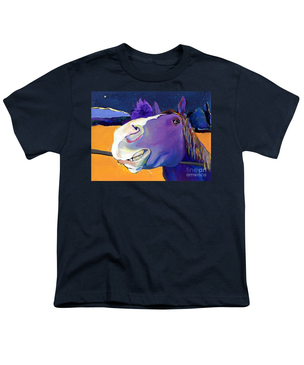 Barnyard Animal Youth T-Shirt featuring the painting Got Oats   by Pat Saunders-White