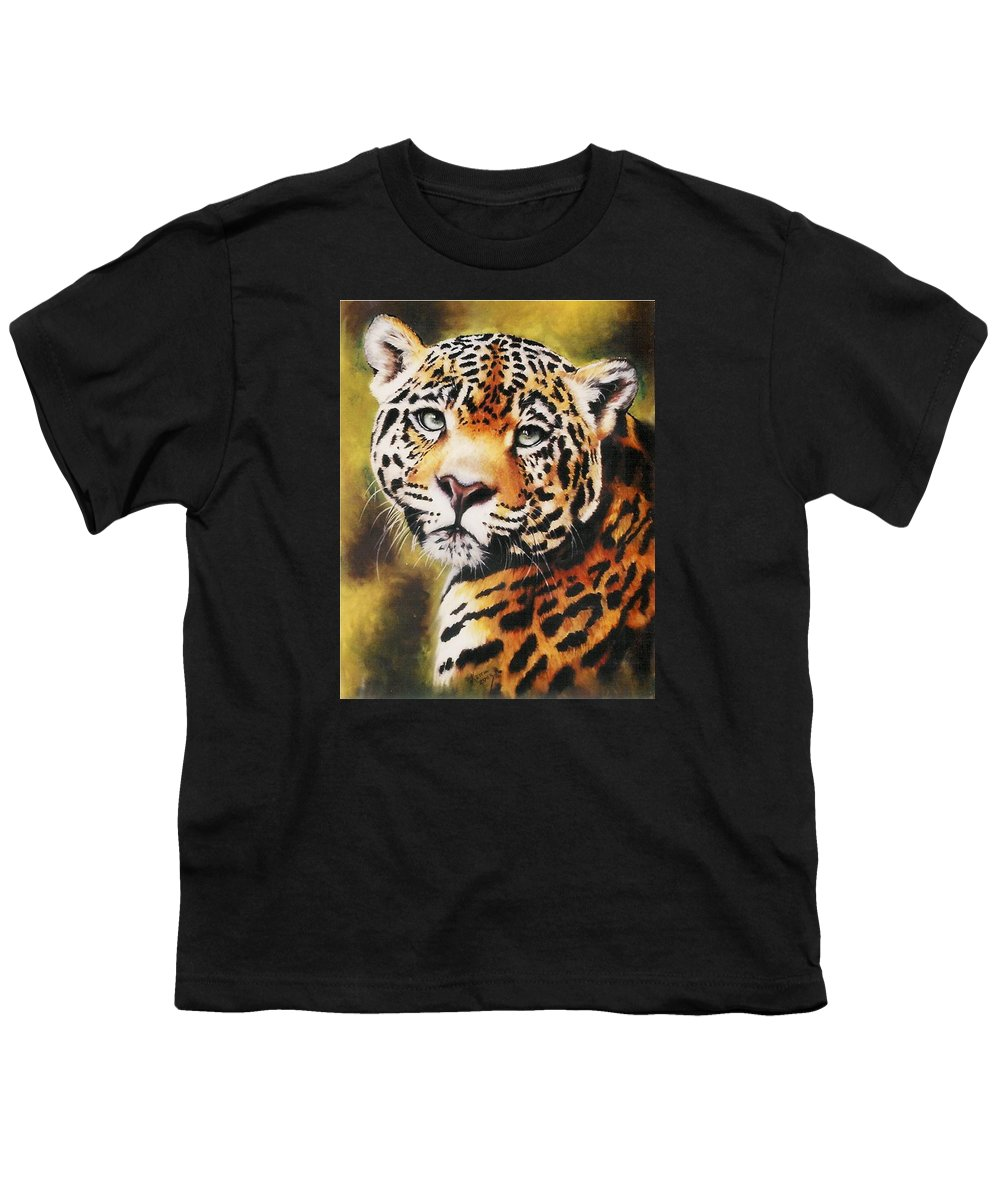 Jaguar Youth T-Shirt featuring the painting Enchantress by Barbara Keith