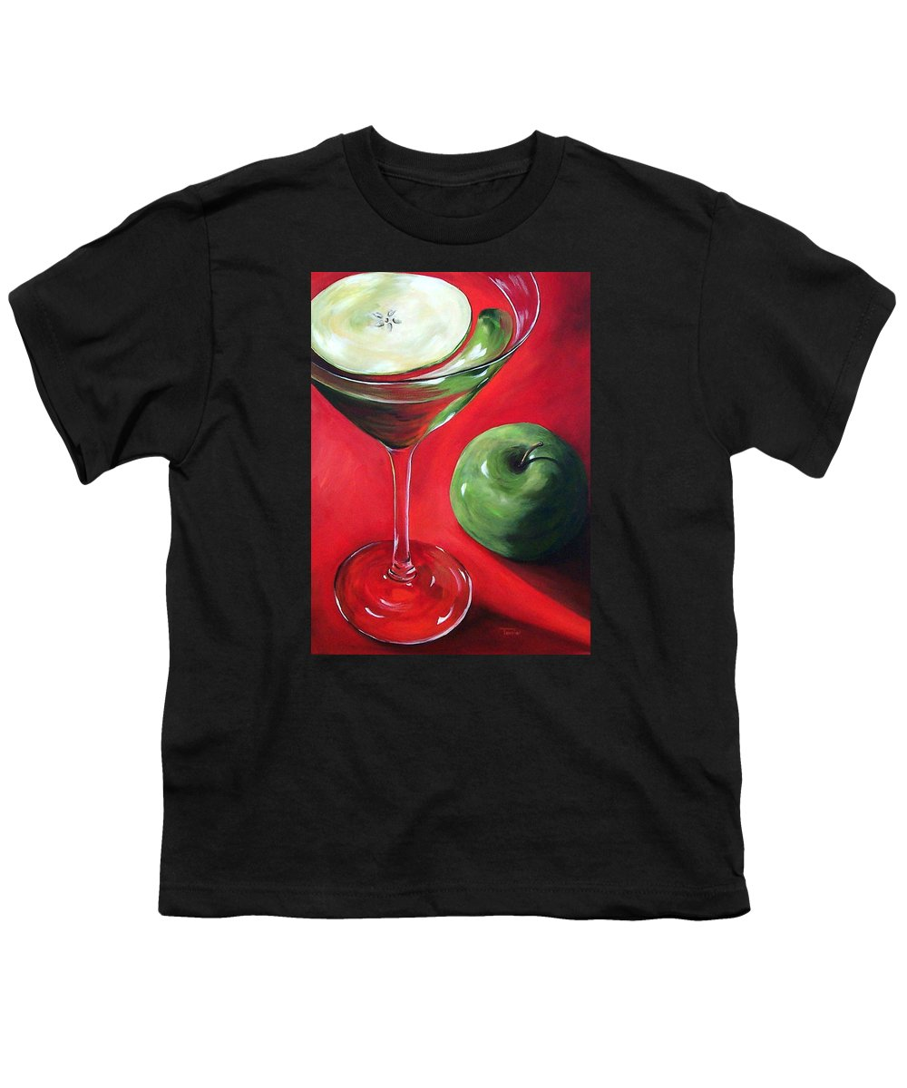 Martini Youth T-Shirt featuring the painting Green Apple Martini by Torrie Smiley