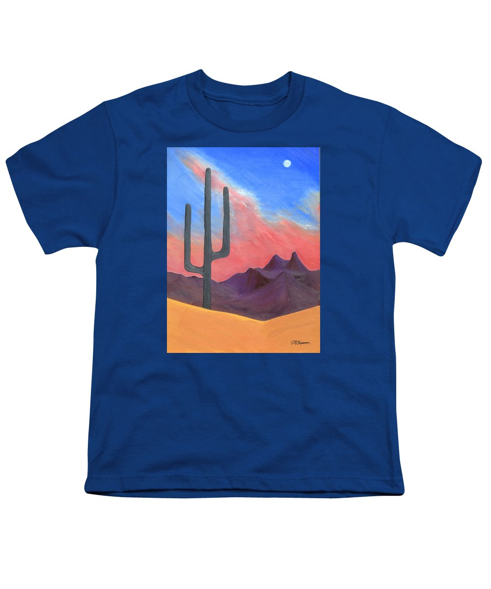 Cactus Youth T-Shirt featuring the painting Southwest Scene by J R Seymour