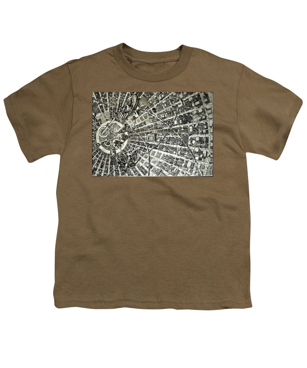 Cityscape Youth T-Shirt featuring the drawing Inside Orbital City by Murphy Elliott