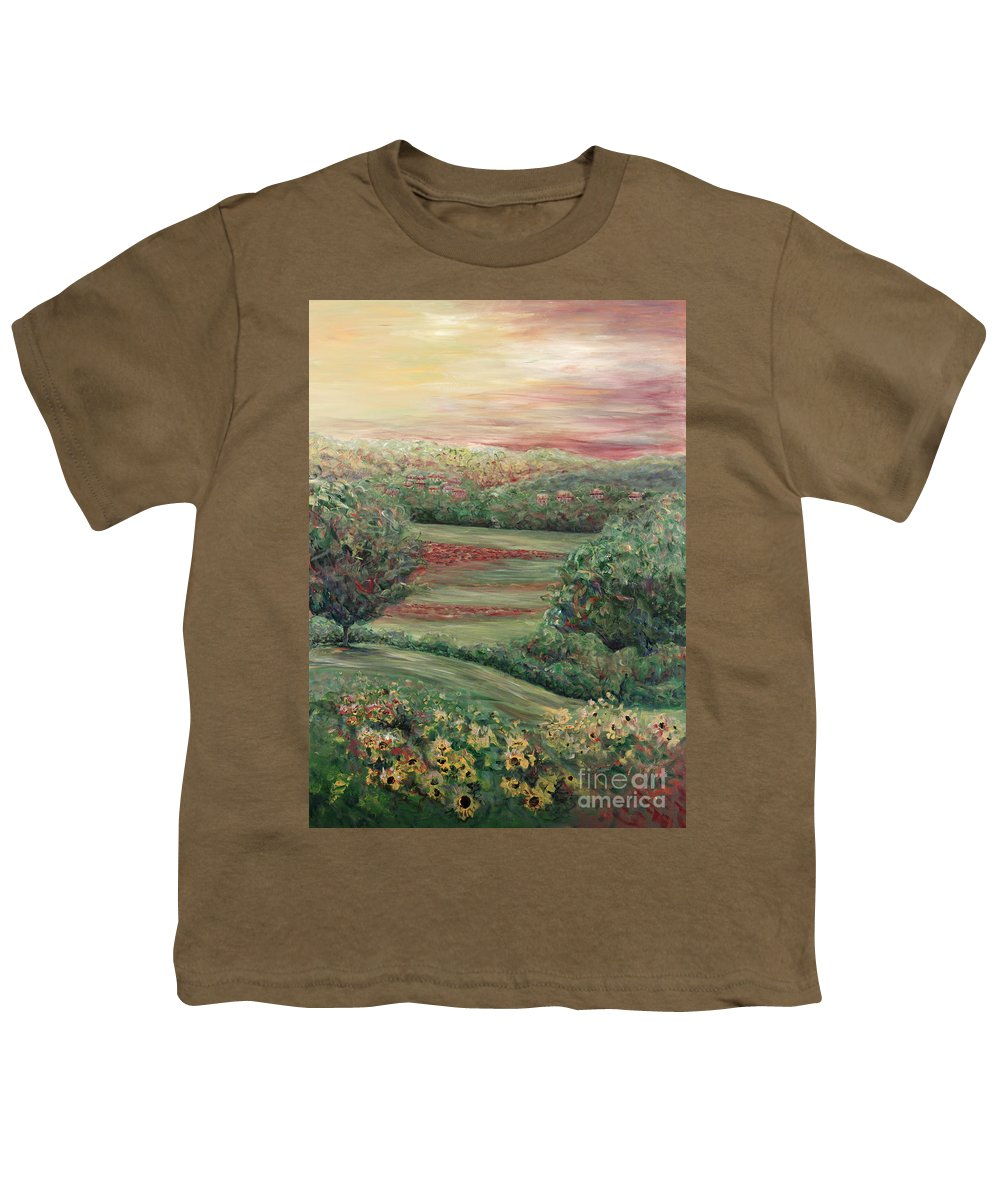 Landscape Youth T-Shirt featuring the painting Summer In Tuscany by Nadine Rippelmeyer