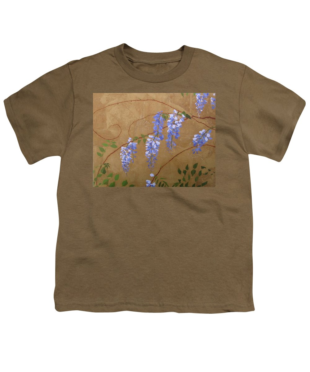 Periwinkle Wisteria Flowers Youth T-Shirt featuring the painting Wisteria by Leah Tomaino