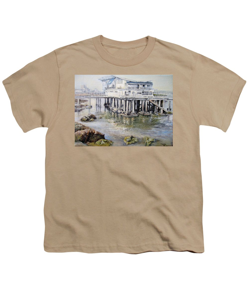 Maritim Youth T-Shirt featuring the painting Maritim Club Castro Urdiales by Tomas Castano