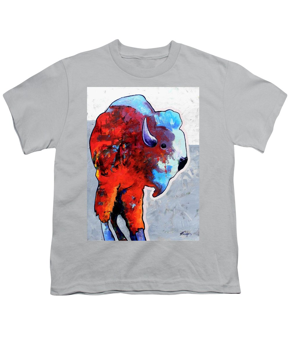 Wildlife Youth T-Shirt featuring the painting Rainbow Warrior Bison by Joe Triano