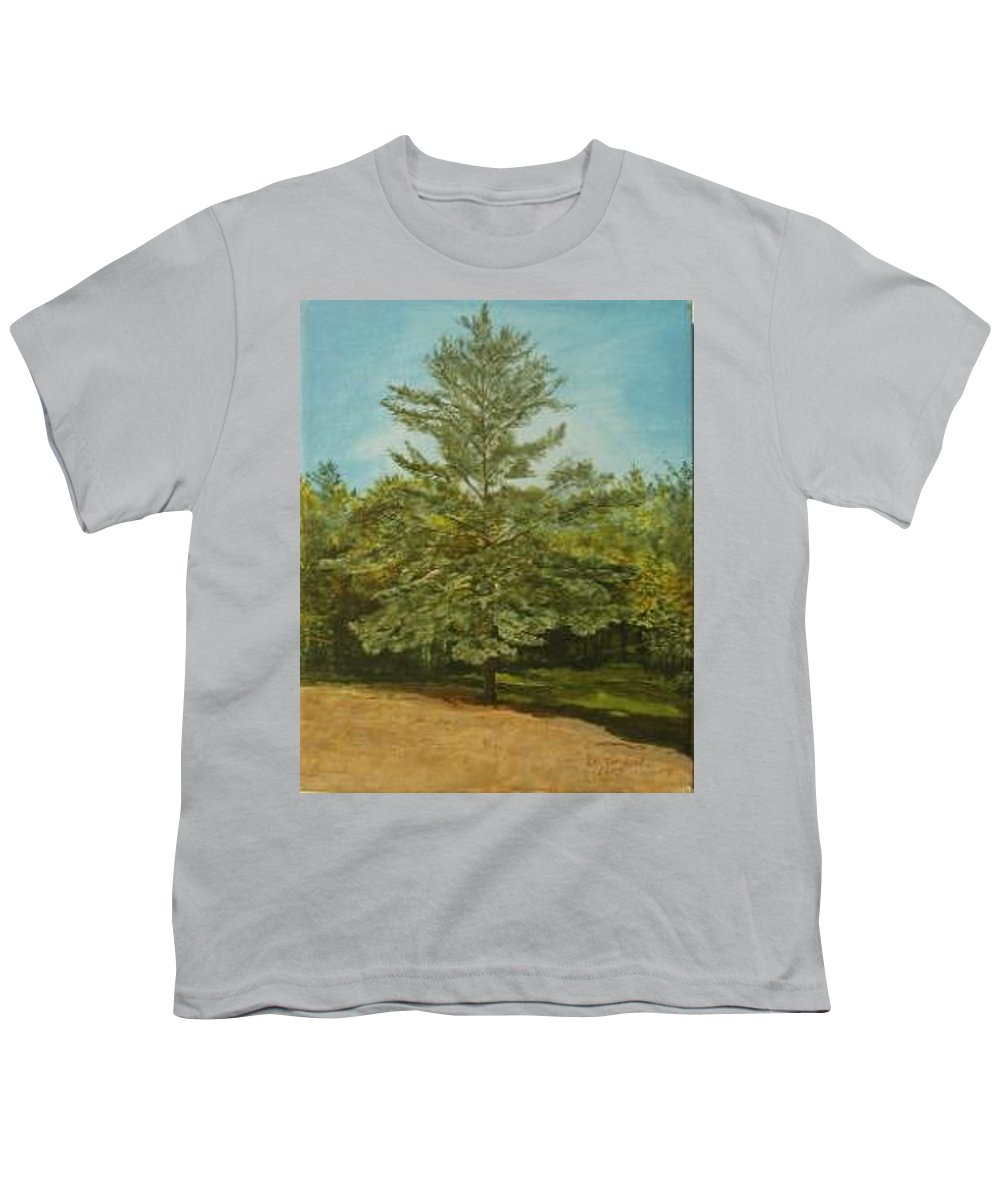 Pine Tree Youth T-Shirt featuring the painting White Lake by Leah Tomaino