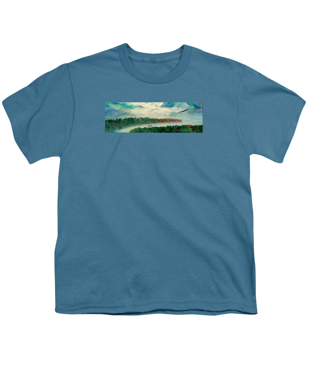 Canoeing On The Big Canadian Lakes Youth T-Shirt featuring the painting Exploring Our Lake by Naomi Gerrard