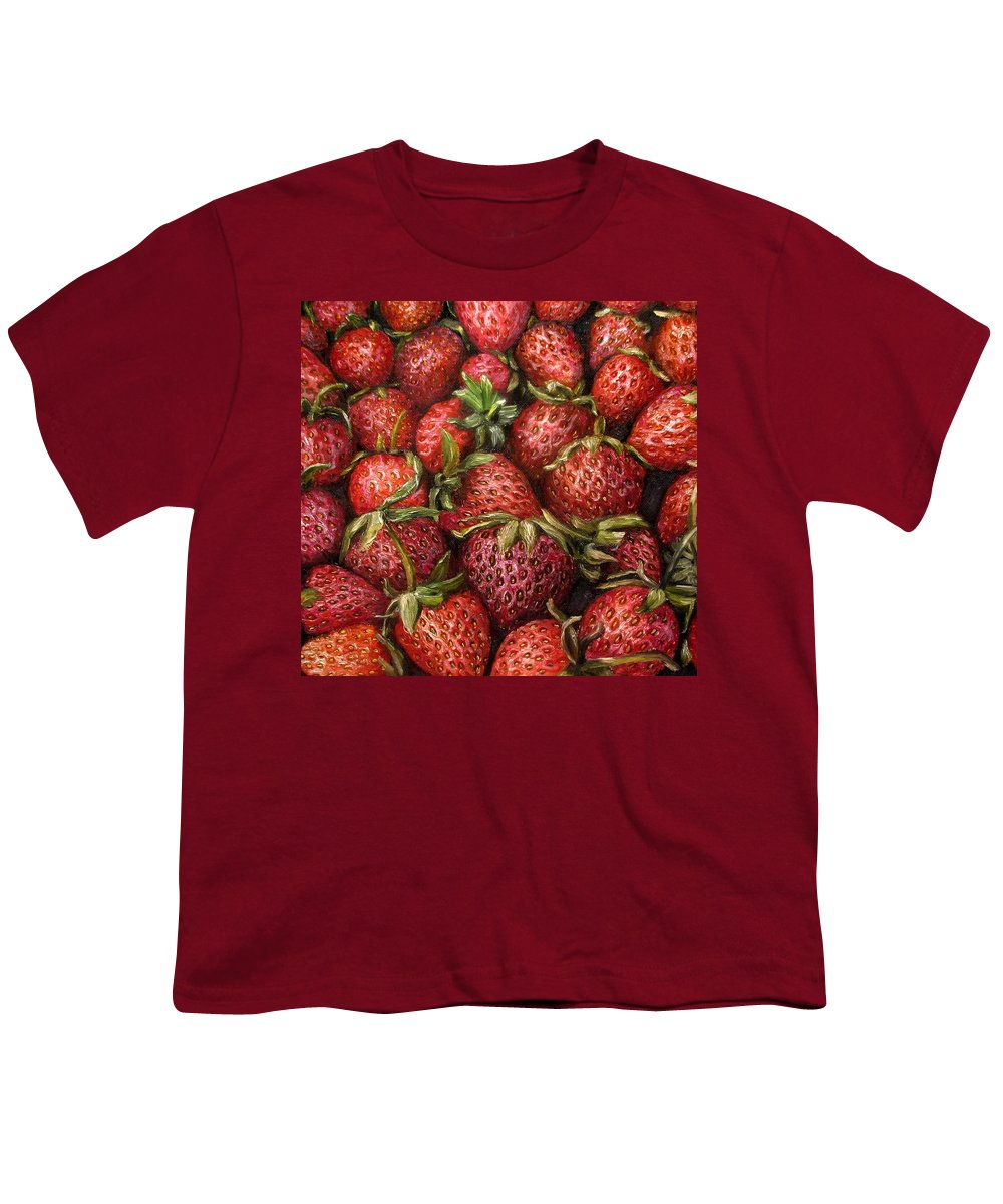 Strawberries Youth T-Shirt featuring the painting Strawberries -2 Contemporary Oil Painting by Natalja Picugina