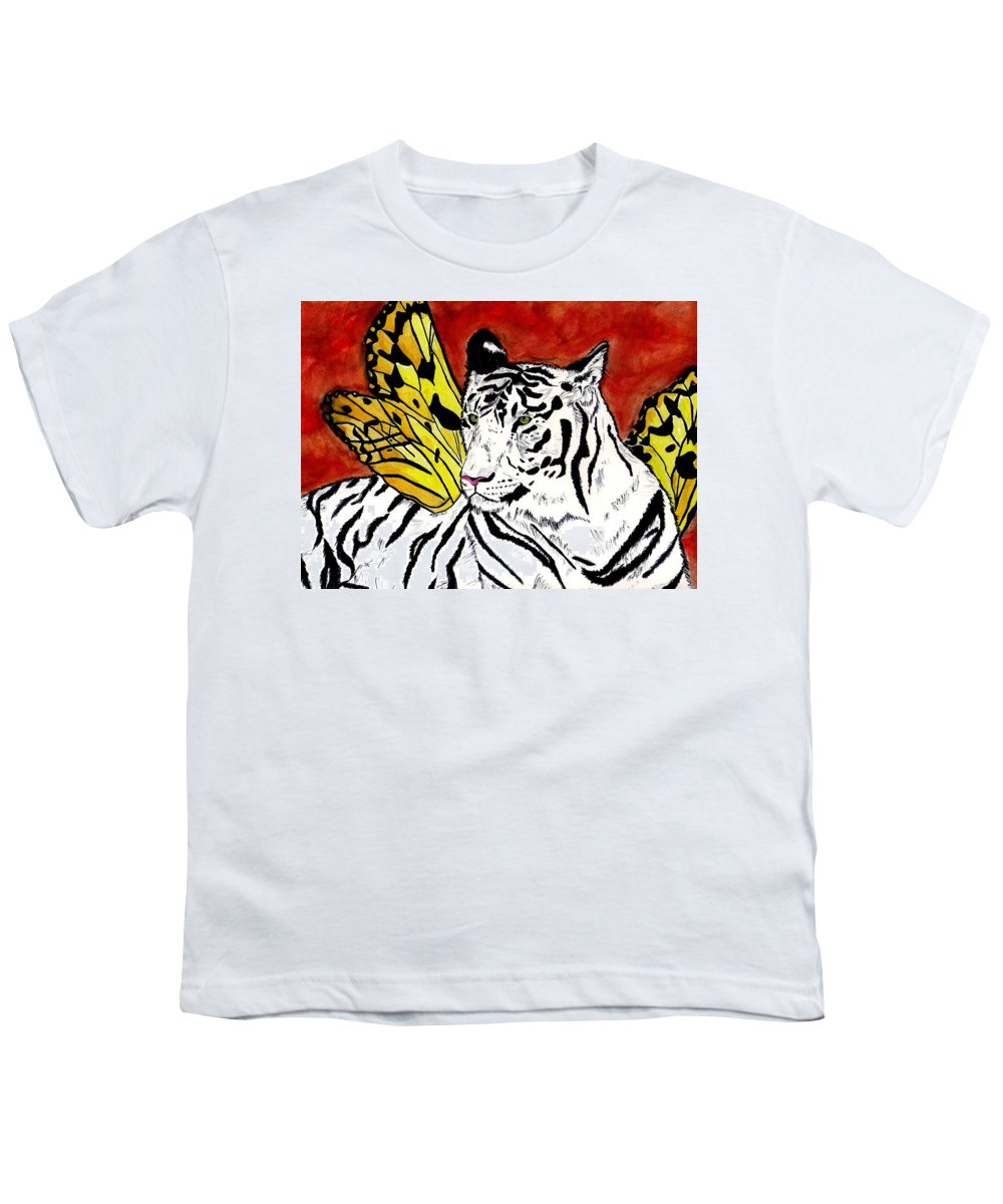 Tiger Youth T-Shirt featuring the painting Soul Rhapsody by Crystal Hubbard