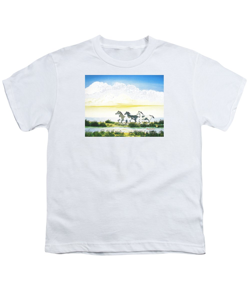 Chincoteague Youth T-Shirt featuring the painting Indian Ponies by Jerome Stumphauzer