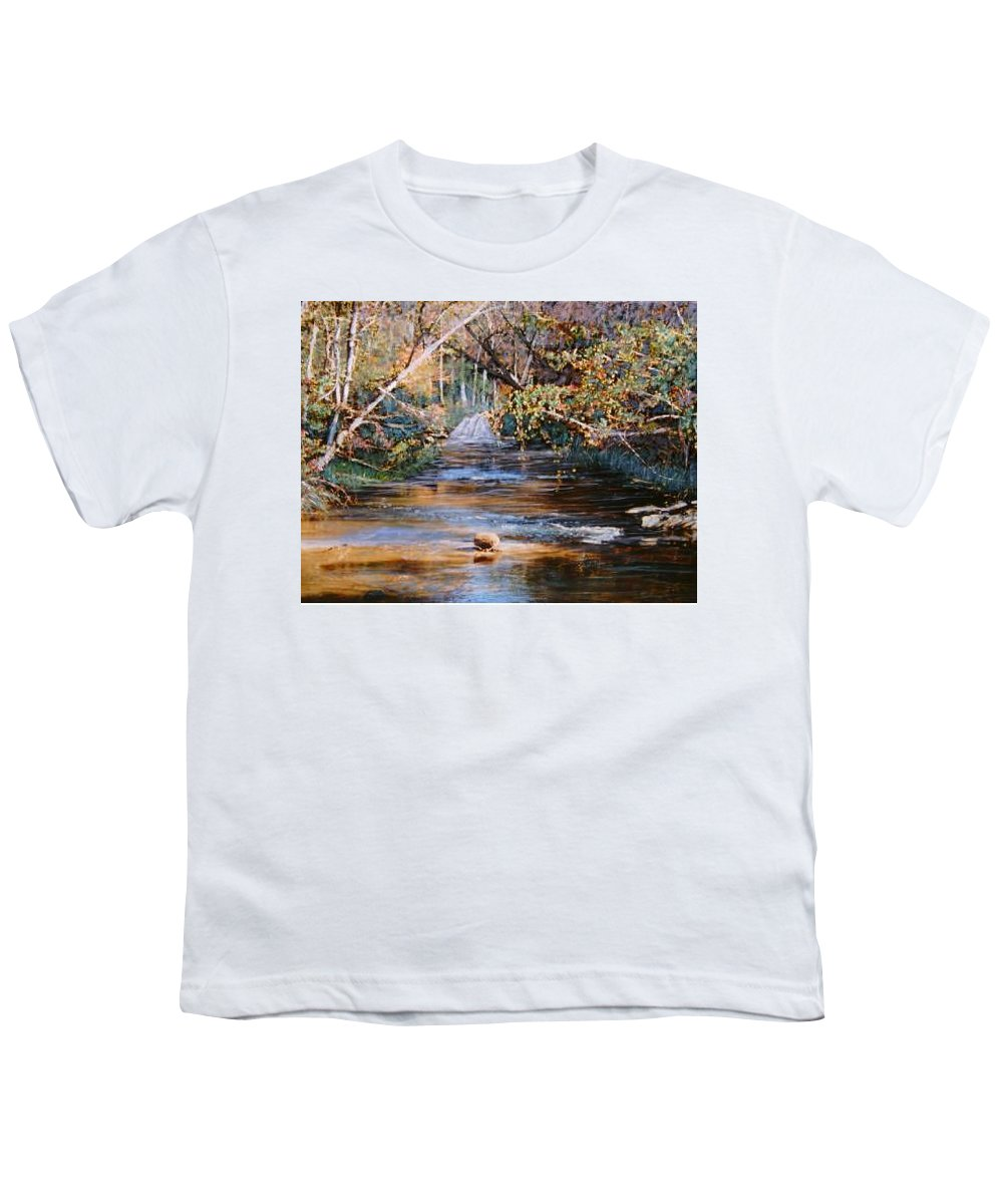 River; Waterfalls Youth T-Shirt featuring the painting My Secret Place by Ben Kiger