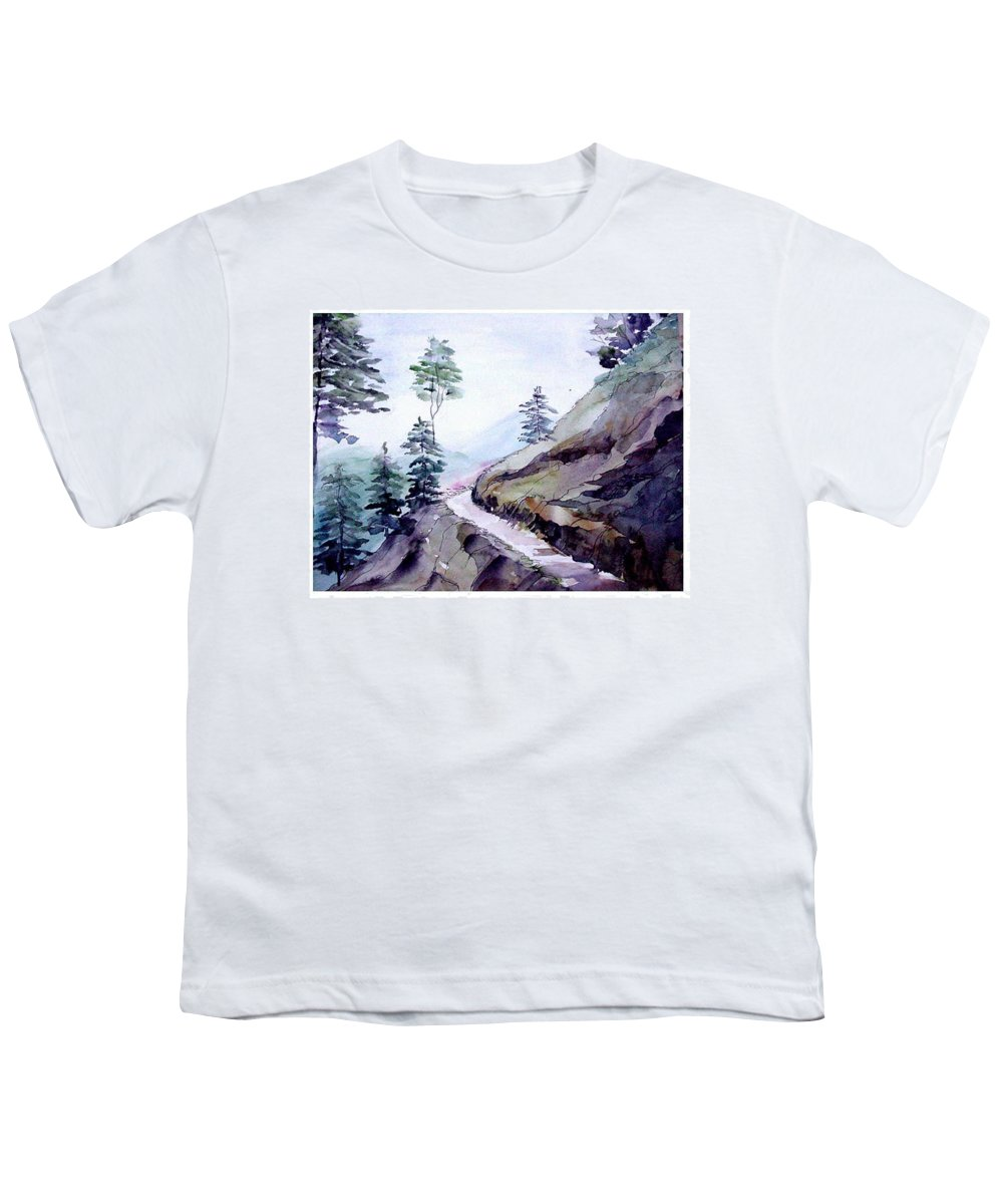 Landscape Youth T-Shirt featuring the painting Blue Hills by Anil Nene